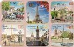 Paris Eiffel Notre Dame Set 6 French Vintage Style Coasters Drinks Holder Mat